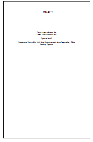 Draft Zoning By-law cover page