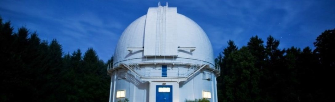 David Dunlap Observatory with dark blue night sky