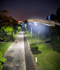 LED streetlight at night