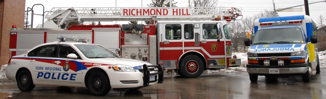 Richmond Hill police car, fire truck and ambulance