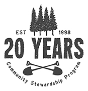 20 years of Community Stewardship emblem