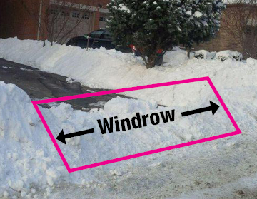 Shows where a windrow is located at the end of your driveway.