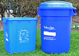 Regular sized and large recycling bins