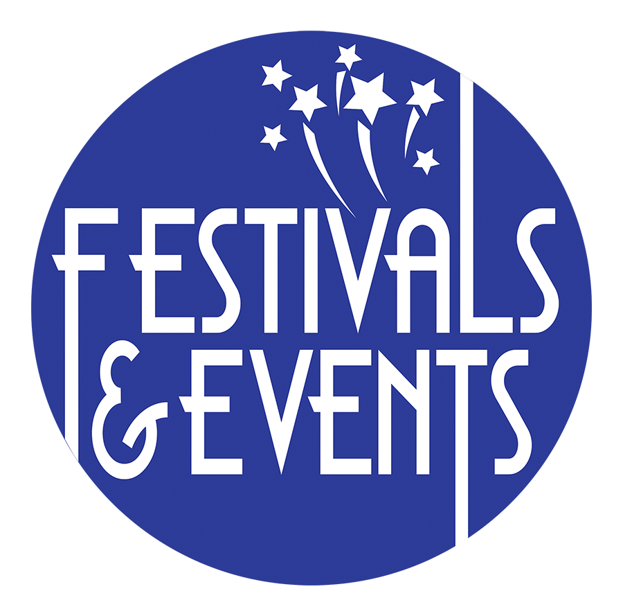 blue festival and events logo