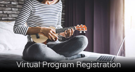 "Person playing guitar in front of laptop with text saying ""virtual program registration"""