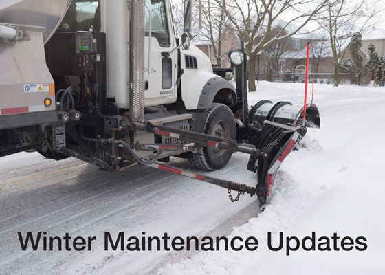 "Picture of snow plow with text saying ""Winter maintenance updates"""