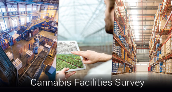 "three images of cannabis facilities with text that says ""Cannabis Facilities Survey"""