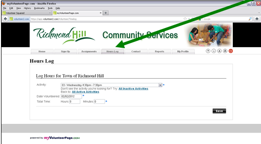 "Screen shot with an arrow pointing to the ""all inactive activities"" link at 222.myvolunteerpage.com."