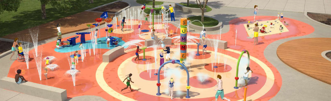 Rendering of the new splash pad coming to David Hamilton Park