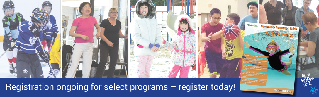 "People young and old participating in activities such as hockey and fitness, with the text ""Registration ongoing for select programs - Apply today!"""